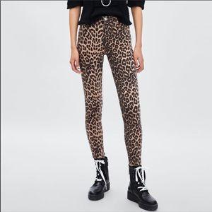 NWT ZARA Trafaluc Cheetah High Rise Denim Jeans